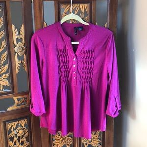 New Directions Raspberry 3/4 Sleeve Top Size PL